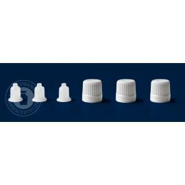 Nakrętka biała fi 18 z pierścieniem gwarancyjnym oraz kroplomierzem (100 szt.)